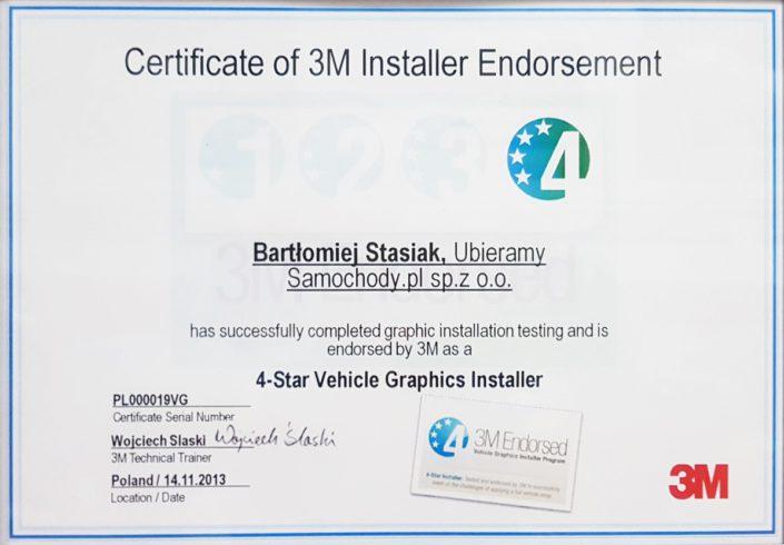 Certyfikat 4-Star Vehicle Graphics Installer