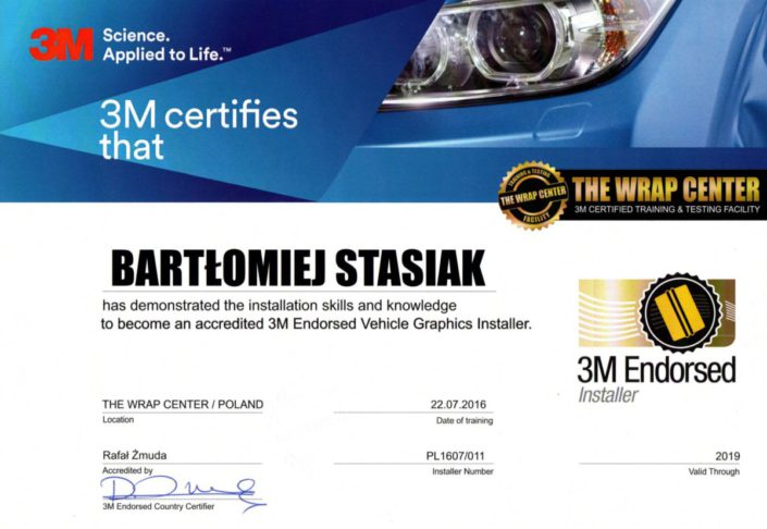 Certyfikat 3M Endoresed Vehicle Graphics Installer