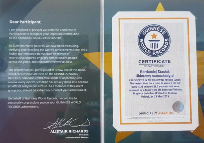 Certyfikat pobicia Światowego Rekordu Guinnessa
