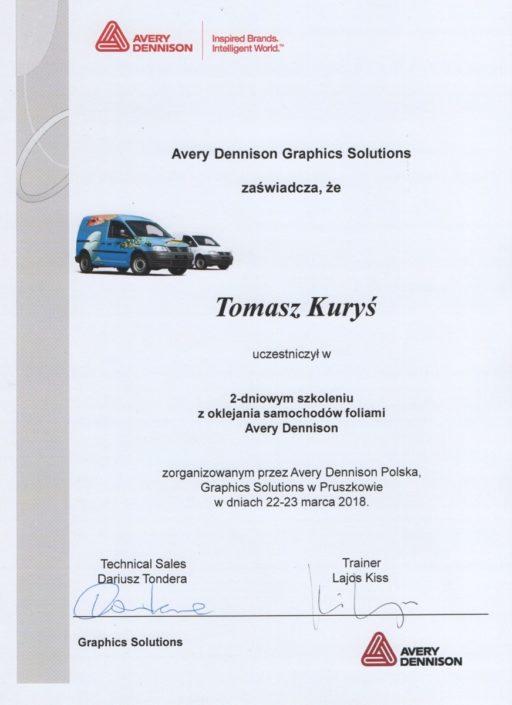 Certyfikat Avery Dennision Polska 2018